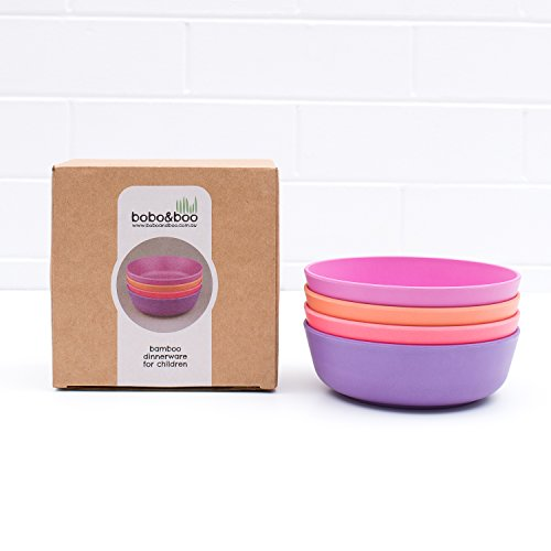 Bobo&Boo Bamboo Kids Bowls, Set of 4 Eco Friendly Toddler Bowls :: Non Toxic & Kid Safe Dishes for Cereal & Soup :: Mix and Match :: Great Gift for Baby Showers & Birthdays, Sunset