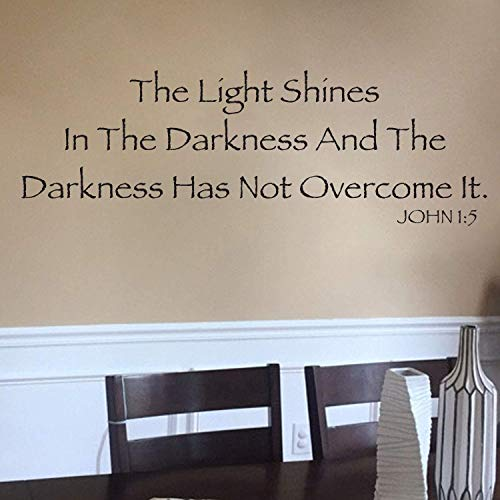John 1:5 Vinyl Wall Decal 2 by Wild Eyes Signs The light shines in the darkness The darkness has not overcome it, Scripture Wall Vinyl, Bible Verse, Modern Christian Home Decor, JOH1V5-0002