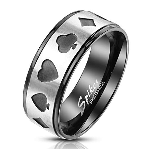 LokahiBasics Steel Poker Card Shape Cut Out Center Two-Tone Black Stainless-Steel Ring (Choose Size) -