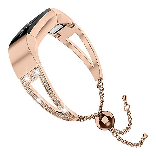 Wearlizer Compatible with Fitbit Alta and Alta hr Bands for Women Bracelet Metal Silver Rose Gold Black Pink Metal Replacement Wrist Band Accessories Straps Bangle