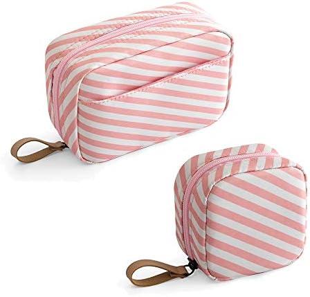 Mini Makeup Bag 2pcs Cosmetic Bag Travel Toiletry Bag Waterproof Accessories Organizer for Women (Pink)