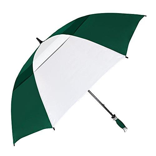 StrombergBrand 'The Vented Tornado' Auto-Open Pro Golf Umbrella - Wind & Lightning-Resistant,, Hunter Green/White, One Size