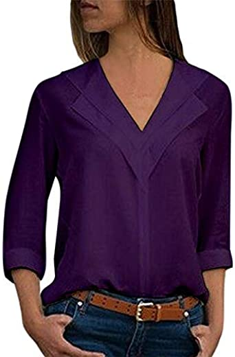 HANGON Blusa blanca de manga larga para ocio, doble cuello en V, blusas y blusas sólidas, para oficina, para mujer, blusa de mujer, blusas talla 4XL, color negro: Amazon.es: Ropa y accesorios