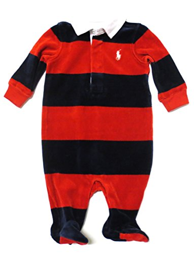 Ralph Lauren Striped Velour Coverall (9 Months, Park Navy/Red)