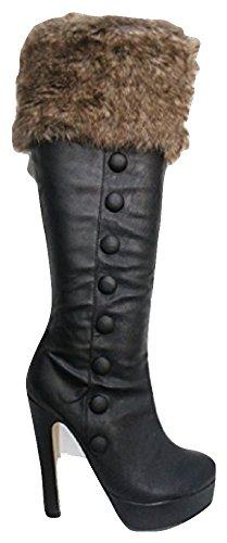 Core Collection sc-9300Noir poignets en fourrure plateforme Stiletto Bottes