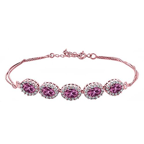 5.29 Ct Oval Pink Tourmaline 18K Rose Gold Plated Silver Bracelet