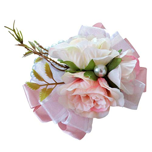 BROSCO Artificial Wedding Bridal Women Girl Bridesmaid Wrist Corsage Wrist Flower | Color - Champagne