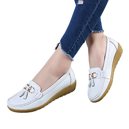 DEARWEN Womens Casual Leather Loafers Slip On Driving Shoes White ilc5g7e
