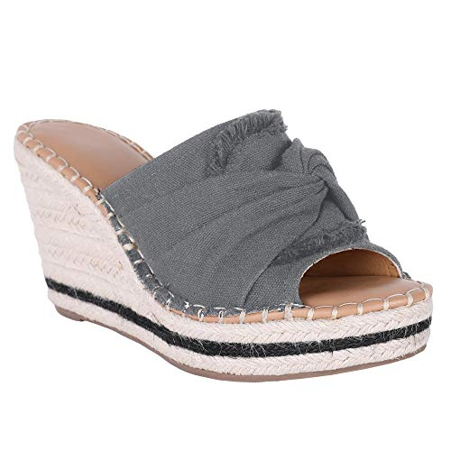 Nailyhome Womens Espadrille Wedge Platform Mules Open Toe Slides Slip On High Heel Backless Sandal with Knotty Bow Detail