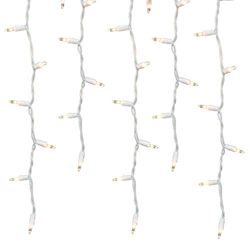 Holiday Essence 100 Icicle Lights, Clear Bulbs, Professional Grade for Indoor & Outdoor Use, Soft Bright White Bulbs with White Wire, UL Listed. ()