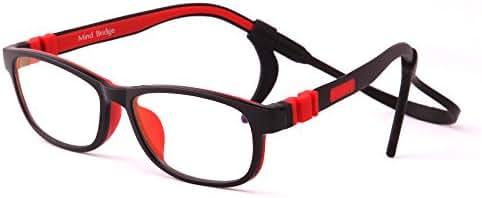 Mind Bridge Kids Blue Light Blocking Computer Video Gaming Glasses - Anti Eyestrain | Durable Cute Protection Eyewear for Children Boys & Girls Digital Screen Time & Technology Use | 508 Black Red