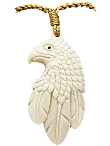 American Bald Eagle Bird Buffalo Bone Carved Pendant Necklace Off White, Brown