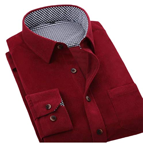 Pandapang Men Turn Down Classic Tops Corduroy Long Sleeve Button Front Shirts Red XL