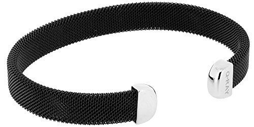 Qray Midnight Black and White Stainless Steel Mesh Golf Athletic Bracelet (Large)