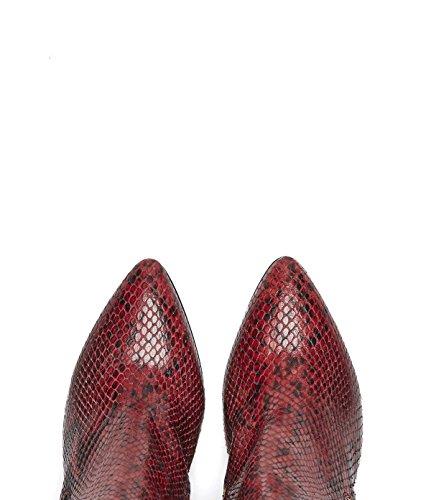 PoiLei Damen Schlangenmuster spitze Stiefelette mit BlockabsatzAdrianaEchtleder rot