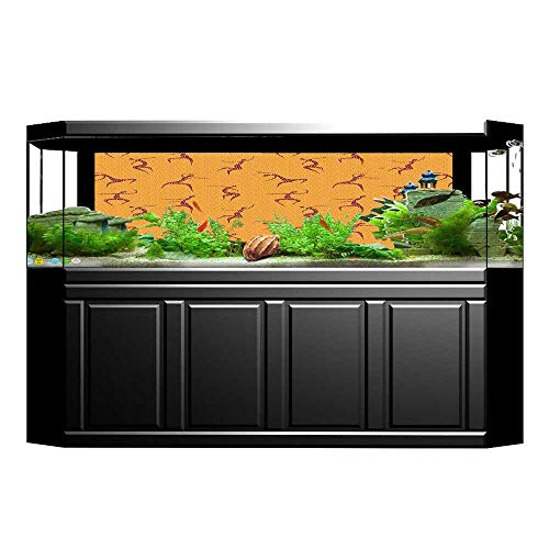 Anatomic Drop - Fish Tank Background Decor Static Image Backdrop Wallpaper Sticker Cling Decals Physical Anatomic Dancing Man above Fragmentary Tiles Boho Orange Red Wallpaper Sticker Background Decoration L29.5