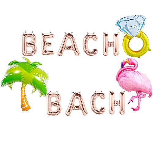 Beach Bach Balloons, Beach Bachelorette Hawaii Luau Flamingo Ring Palm Tree Tropical Summer Party Banner, Flamingo Bach Bachelorette Party Supplies Decorations (Palm Tree Banner)