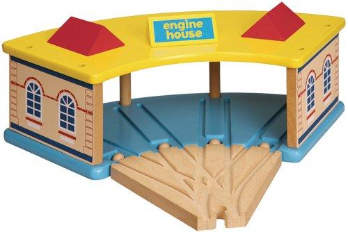 WowToyz Wooden Engine Round House with 4 Way Switch Track Set