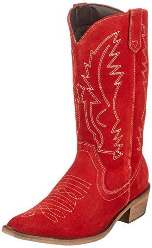 2db6c3d173 Donna Occidentali in Pelle Stivali da Cowboy Punta Ladies Ampia del  Polpaccio Stivali