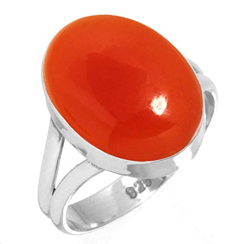 925 Sterling Silver Ring Natural Carnelian Handmade Jewelry Size 5.5