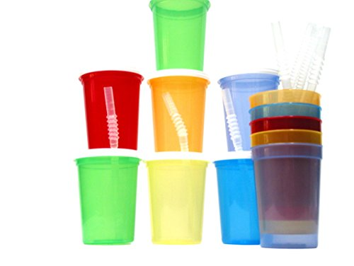 Talisman, Small Plastic Drinking Glasses, Lids and Straws, 12 Ounce, 12 Pack Translucent -