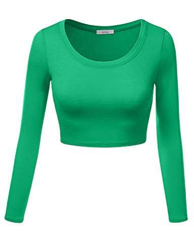 Favorite Long Sleeve Top (Simlu Womens Crop Top Round Neck Basic Long Sleeve Crop Top with Stretch Reg and Plus Size - USA Kelly Green X-Large)
