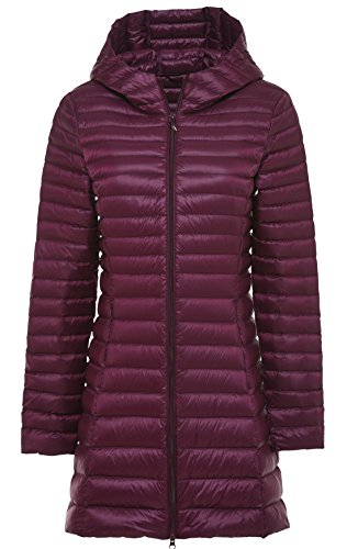 Chouyatou Women's Hooded Full-Zipper Ultra Lightweight Packable Down Anoraks Jacket (Small, Dark Red)