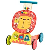 TRYSHA Baby Walkers, 3-in-1 Use as Push Along Toys, Yellow Lion Mobility Walker for 1-3 Years, Wooden Walker Kids/Pull…