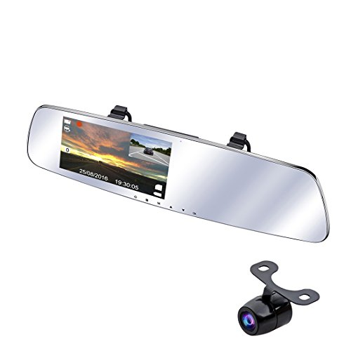 SmarTure 1296P Rear View Mirror Dash Cam with Backup Camera, 5 IPS Screen, 150 Degree Wide Angle Front Camera with Night Vision, Reverse Assist, Parking Protection,Two Channels Recording (3rd Gen)