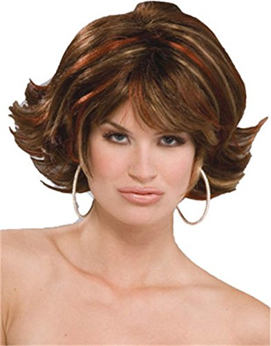 Forum Novelties Women's Socialite Costume Wig, Brunette, One (Brown Flip Wig)