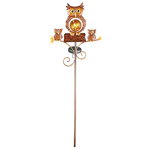 Collections Etc Lighted Solar Own with Chicks Garden Stake, Outdoor Décor by Collections Etc