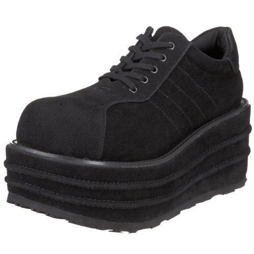 Pleaser Mens Tempo 08 Platform Sneaker Zwart Veggie Suede