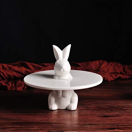YOTATO Creative Porcelain Rabbit Cake Stand Ceramic Hare Dessert Serving Tray Cake Tableware Decor Gift Craft Supplies ()