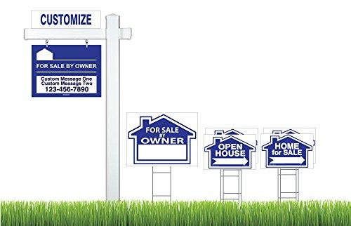 Buy cheap deluxe real estate for sale owner fsbo sign kit blue vinyl pvc post hanging main