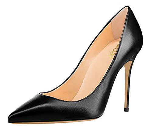 Fine Mouth 10cm Solid Sharp DYF Size Shoes 41 Heel Color High Black Big Shallow nY441Sqwv