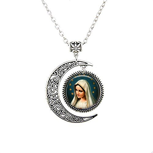 Blessed Virgin Mary - Madonna Moon Necklace - Virgin Mary Moon Necklace - Mary with Star Halo for $<!--$3.99-->