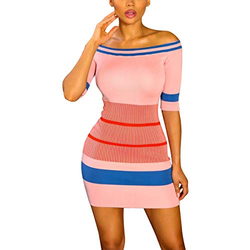 Striped Color Block Off Bodycon Mini Manga Corta Vestido de Club de Punto de Manga (Color : Pink, tamaño : M)