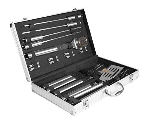 Rustler RS-0524 Grillbesteck Set im Aliminium Koffer, 18 teilig, silber, 58 x 10,5 x 4 cm