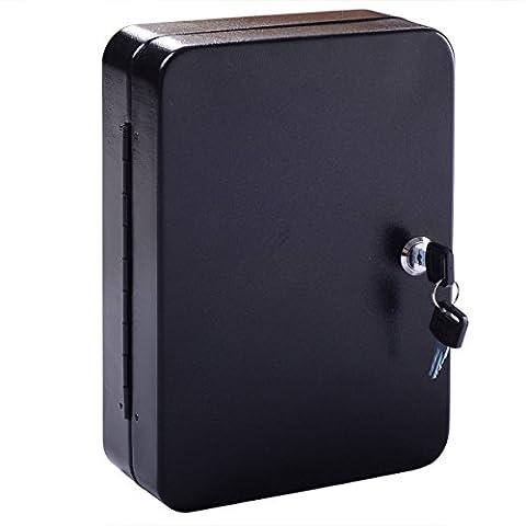 Wall Mount Home Car Lock Storage 48 Hook Key Box Metal Safe w/Tag Case Cabinet Black (Ottoman Helmet)