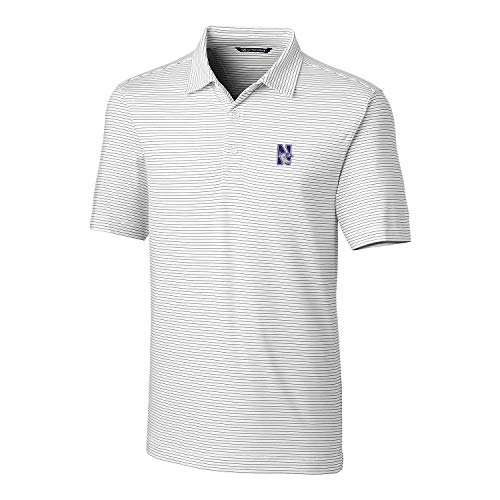 Cutter & Buck NCAA Northwestern Wildcats Mens Short Sleeve Pencil Stripe Forge Polo, White, X-Large
