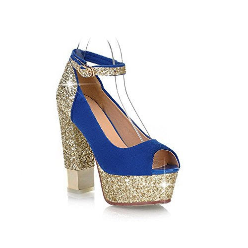 VogueZone009 Womens Open Peep Toe High Heel Platform Chunky Heel PU Frosted Assorted Colors Sandals with Sequin Blue HrhpuYw
