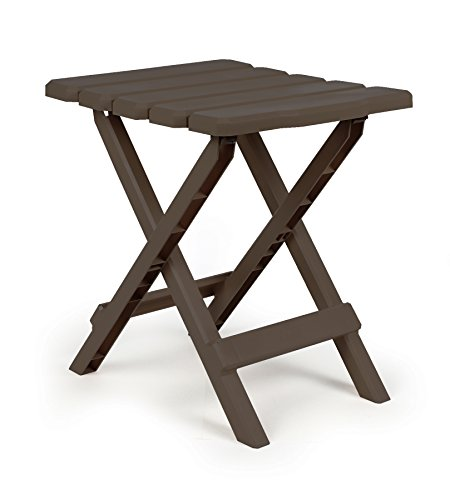Camco Adirondack Portable Outdoor Folding Side Table, Perfect For The Beach, Camping, Picnics, Cookouts and More, Weatherproof and Rust Resistant - Mocha (51882) (Key Tag That Lights)