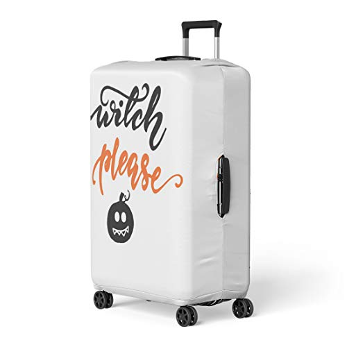 Pinbeam Luggage Cover Autumn Witch Please and Pumpkin Black Boo Celebration Travel Suitcase Cover Protector Baggage Case Fits 18-22 -