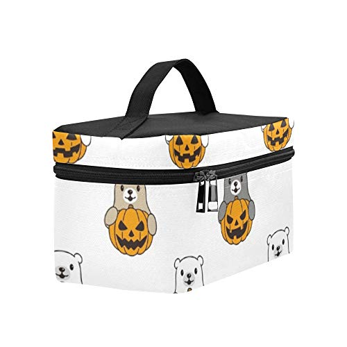 Bear Pumpkin Halloween Lunch Box Tote Bag Lunch Holder Insulated Lunch Cooler Bag For Women/men/picnic/boating/beach/fishing/school/work ()