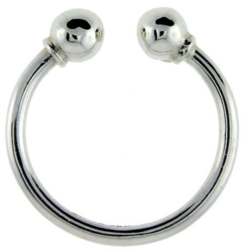Sterling Silver Horseshoe Type Screwball Key Ring, 1 9/16 in. (40mm) tall (Also Available in 32mm, 35mm & 45mm)