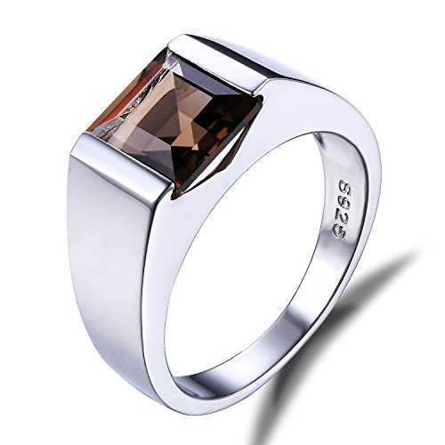 Jewelrypalace Mens 2.3ct Square Smoky Quartz 925 Sterling Silver Ring Size 7
