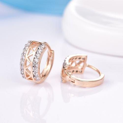 Gozebra(TM) Womens Alluring Pave Topaz Crystal 18K Gold Filled Hoop Snap Closure Earrings