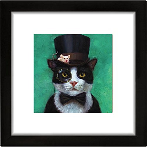 Buyartforless FRAMED Tuxedo Cat with Mouse in Hat by Lucia Heffernan 16x16 Steampunk Art Print Poster Humor Cat Hat Art