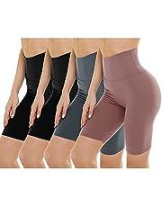 Gayhay Paquete de 4 pantalones cortos de motociclista para mujer, cintura alta, control de barriga, pantalones cortos de yoga para entrenamiento, correr, atlético