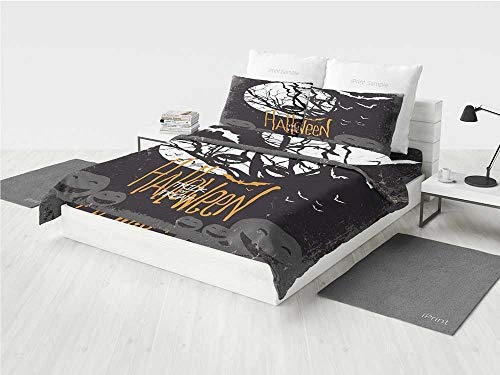 Vintage Halloween owl Crib Bedding Sets for Girls Halloween Themed Image with Full Moon and Jack o Lanterns on a Tree Decorative Printing Four Pieces of Bedding Set Black White -